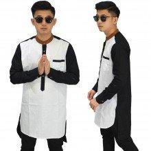 Baju Koko Kurta Gamis White Combination Black