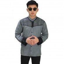 Baju Koko Panjang Combi Motif Grey