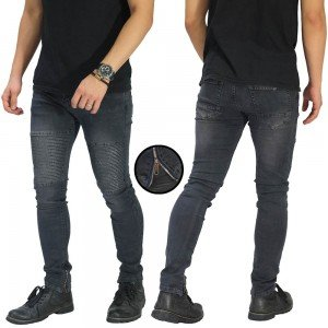 Biker Jeans Ankle Zipper Dark Grey