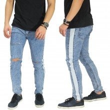 Jeans Track Ripped Washed Soft Blue