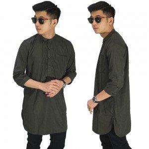 Baju Muslim Kurta Gamis 3/4 Polos Abu Tua