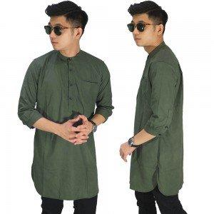Baju Muslim Kurta Gamis 3/4 Polos Hijau Lumut