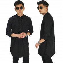 Baju Muslim Kurta Gamis 3/4 Polos Hitam
