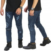 Biker Jeans Extra Ripped Dark Blue