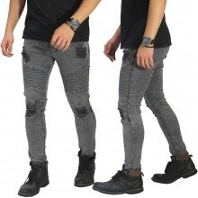 Biker Jeans Thigh And Knee Rips Grey