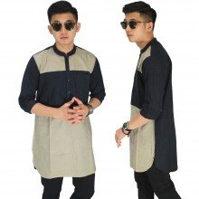 Baju Muslim Kurta Gamis 3/4 Brown And Black