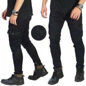 Biker Jeans Cargo Ankle Zip Black