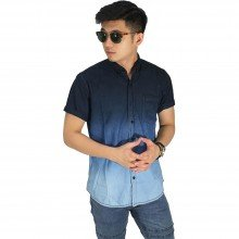 Kemeja Pendek Denim Gradient 3 Colour Blue