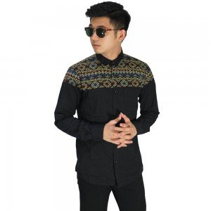 Kemeja Top Batik Songket Black