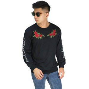 Sweatshirt Embroidery Millennial Rose Black