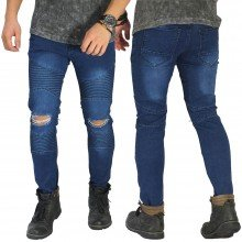 Biker Jeans Extend Knee Ripped Dark Blue