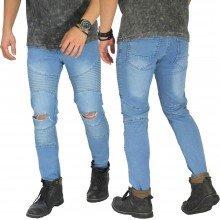 Biker Jeans Extend Knee Ripped Soft Blue