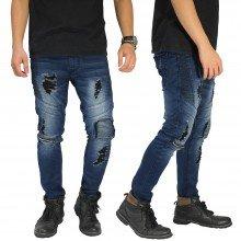 Biker Jeans Extra Ripped Dark Blue