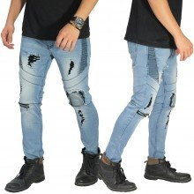 Biker Jeans Extra Ripped Soft Blue