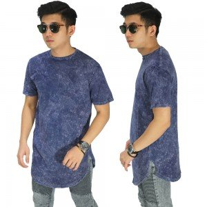 Longline T-Shirt Washed Blue