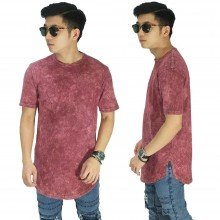 Longline T-Shirt Washed Maroon