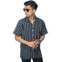 Kemeja Pendek Revere Collar Monochrome Stripe Black