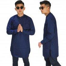 Baju Muslim Kurta Gamis Panjang Polos Dongker