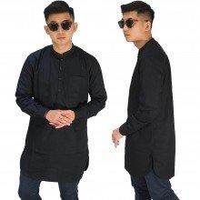 Baju Muslim Kurta Gamis Panjang Polos Hitam