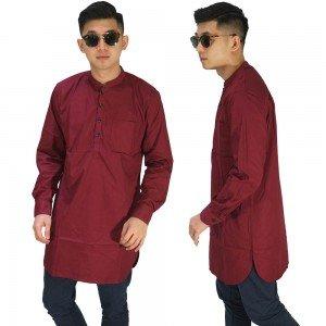 Baju Muslim Kurta Gamis Panjang Polos Maroon