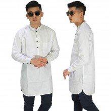 Baju Muslim Kurta Gamis Panjang Polos Putih