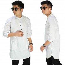 Baju Muslim Kurta Gamis 3/4 Polos Putih