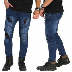 Biker Jeans 3 Ripped Dark Blue