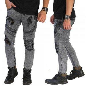 Biker Jeans 3 Ripped Grey