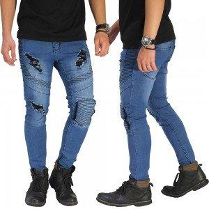 Biker Jeans 3 Ripped Light Blue