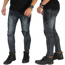 Biker Jeans Extra Ripped Washed Grey