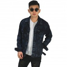 Jaket Denim Trucker Sandwash Black Faded