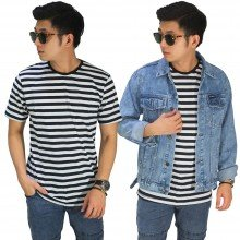 Kaos Medium Stripe Black And White