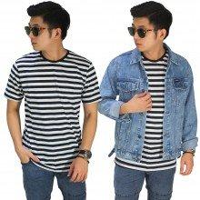 Kaos Medium Stripe Black And White