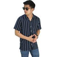 Kemeja Pendek Revere Collar Big Stripe Navy