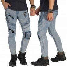Biker Jeans 3 Ripped Soft Blue