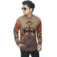 Kemeja Batik Elegan Kombinasi Motif Nusantara Black