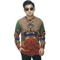 Kemeja Batik Elegan Kombinasi Motif Nusantara Navy