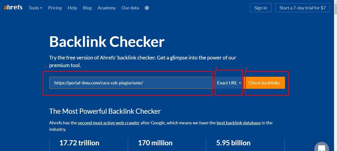 cara cek backlink gratis dari ahrefs
