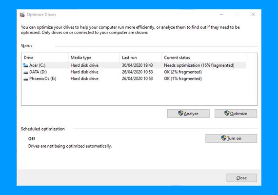 Cara Defrag di Windows 10 : tampilan aplikasi  Defragment and Optimize Drives