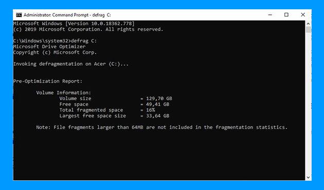 Cara Defrag di Windows 10 lewat cmd