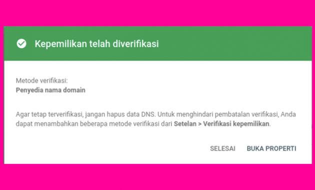 domain terverfikasi melalui dns google search console