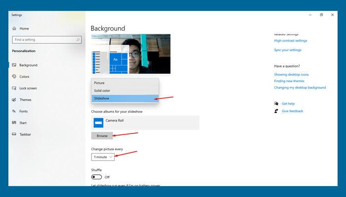 Cara Mengganti Wallpaper Laptop Windows menggunakan slide show