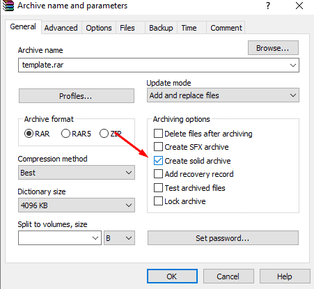 cara kompres file sekecil mungkin : create solid archive
