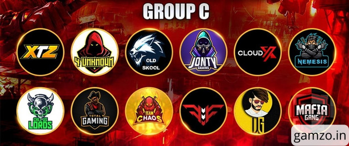 Total gaming free fire tournament group c teams
