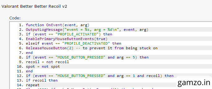 One of the many valorant scripts we found online that can exploit the game through g hub