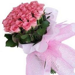 A bunch of 20 pink roses in beautifully paper packing