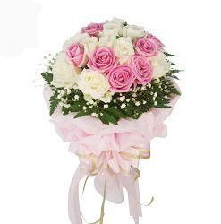 A bunch of 20 white and pink roses in beautifully paper packing