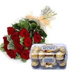 Bouquet of 12 Red Roses & Box 205gm Ferrero Rocher