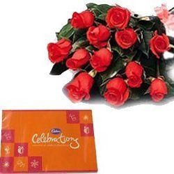 Bouquet of 12 red roses & Box of Celebrations chocolates 205Gm