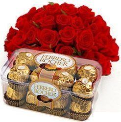Bouquet of 15 red roses & Box 200gm ferrero rocher